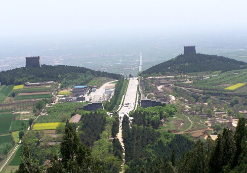 A long shot of the Qianling Mausoleum of Emperor Tanggaozong and Empress Wu Zetian in Shaanxi Province.