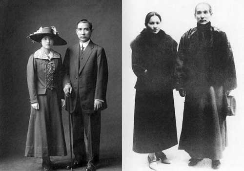 Photos of Sun Yat-sen and his wife Song Chingling,Shanghai