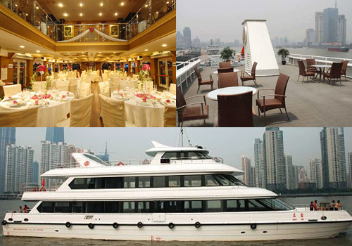 Different types of boats are provided for choice for Huangpu River Cruise.