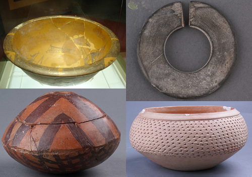 Unearthed relics from the Banpo Remain Hall of Banpo Museum,Xi'an,Shaanxi Province.