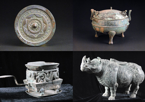 Bronze and ceramic wares of the Western Han Dynasty displayed in the Maoling Mausoleum Museum,Xianyang City,Shaanxi Province.