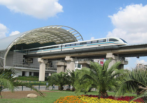 The Maglev Train in Shanghai is the first commercial maglev line in the world.
