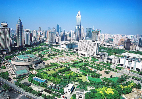 People's Square is located in the heart of the Shanghai city.