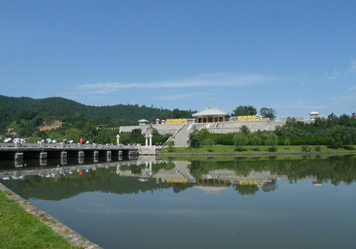 A distant view of the Mausoleum of the Yellow Emperor in Huangling County,Yan'an City, Shaanxi Province.
