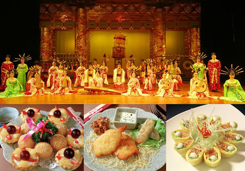 Performance and dishes of the Tang Dynasty Dinner Show in Xi'an.