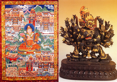 A piece of Thangka and a statue of mythical animal of Potala Palace.
