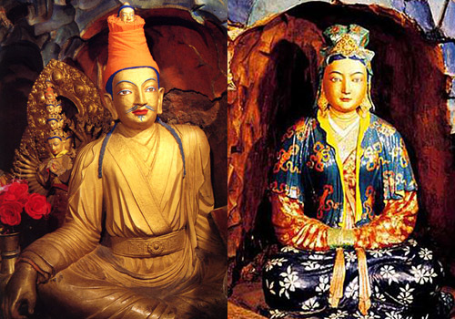 The painted sculptures of Sontzen Gampo and his wife Princess Wencheng.