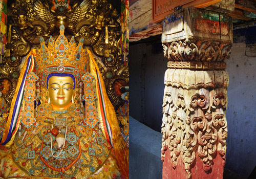 One of the real-life gold statues of Sakyamuni & an old wooden polar of Jokhang Temple