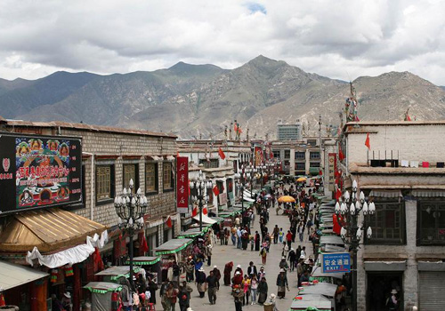 One branch of the Barkhor Street in Lhasa,Tibet.