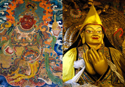 Mural and gold statue of Tsongkhapa at Drepung Monastery in Tibet.