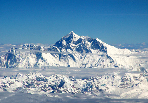 A panorama of the Mt.Everest- the highest peak of the Himalayas.