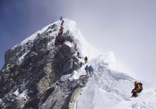 The Hilary Step for mountaineering the Mt.Everest,Tibet