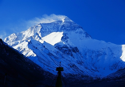 Mount Everest with flag clouds-the highest vane in the world,Tibet