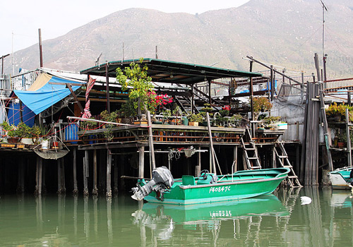 One of the wooden wigwams above the water at Tai O Fishing Village of Hong Kong.