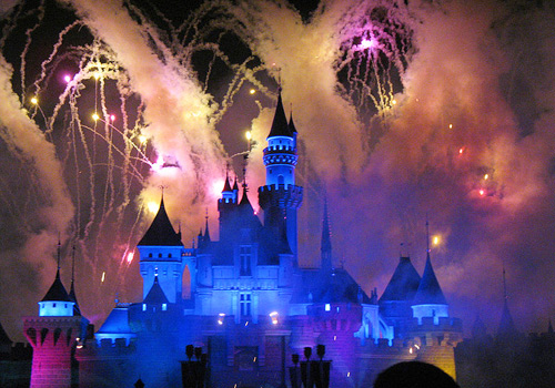 "The stunning firework display over Sleepy Beauty's Castle is coordinated with favorite Disney songs like ""A Whole New World"" and can viewed throughout the entire park."