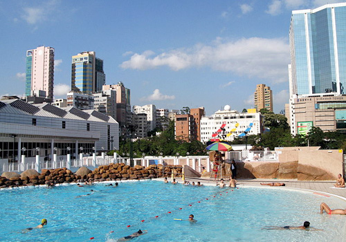 Swimming pool in Kowloon Park is the only site for large or international swimming competitions in Hong Kong.