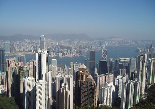 Beautiful city landscape of the Central from the top of Victoria Peak, Hong Kong.