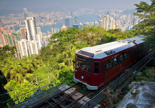 The Peak Tram is carrying visitors to the upper Victoria Peak in Hong Kong.