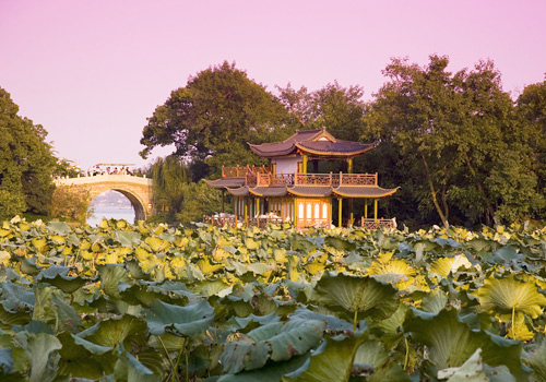 Curved Yard and Lotus Pool in Summer,one of the Ten Scenes of West Lake,Hangzhou