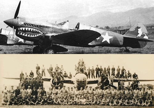 Above:a shark-painted fighter planes of the Flying Tigers in Guilin. Below:the picture of Chinese and American crew members on the B25 fighter plane.