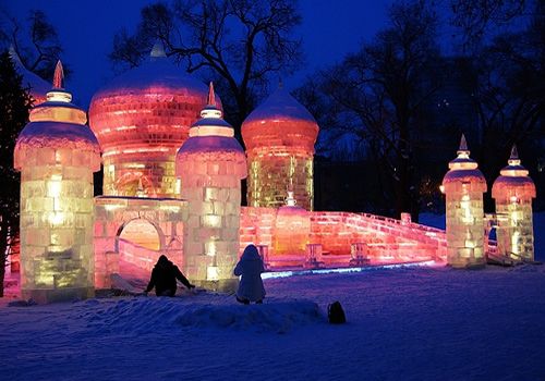 Amazing look of the ice sculptures at dusk.