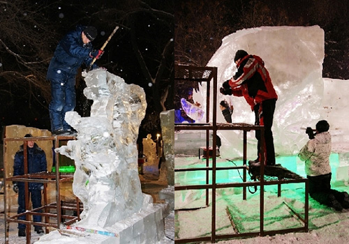 Sculpturer are working hard on carving the ice sculptures.