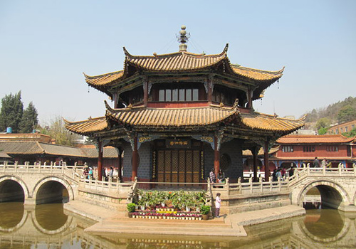 The Octagon Pavilion sitting in the middle of the Pool of Setting Free at Yuantong Temple,Kunming,Yunnan Province.