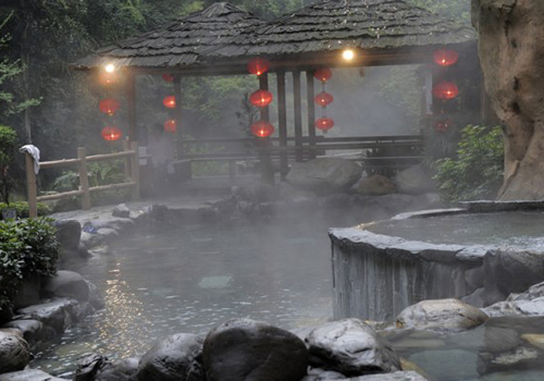 One of the hot spring pools at Longsheng Hot Springs National Forest Park.