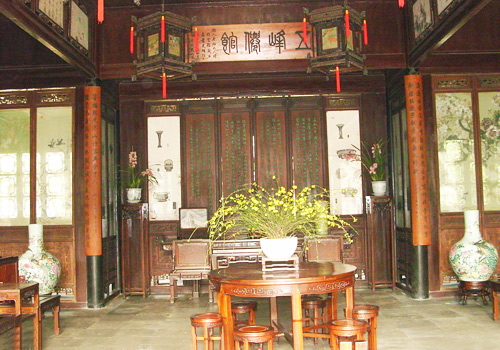 A glance of the interior of Nanmu Hall in Lingering Garden,Suzhou