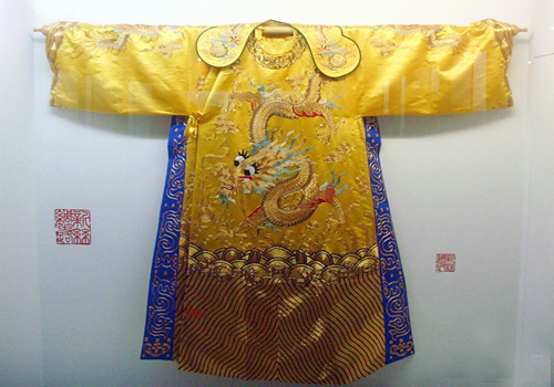 Imperial robe made of silk in the museum,Suzhou