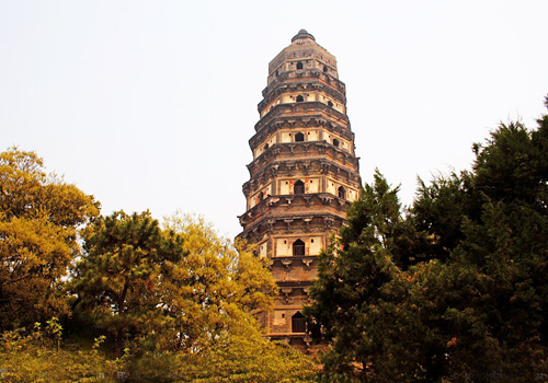Tiger Hill Pagoda,a famed slanted pagoda in Tiger Hill,Suzhou