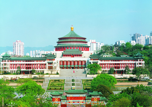 Typical features of Chinese ancient architecture are epitomized from the People's Assembly hall.