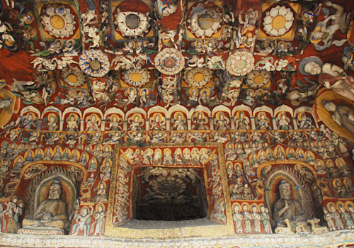 Colorful statues in Yungang Grottoes,Datong