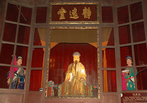 The statues of Chuko Liang and his son and grandson in Wuhou Temple,Chengdu