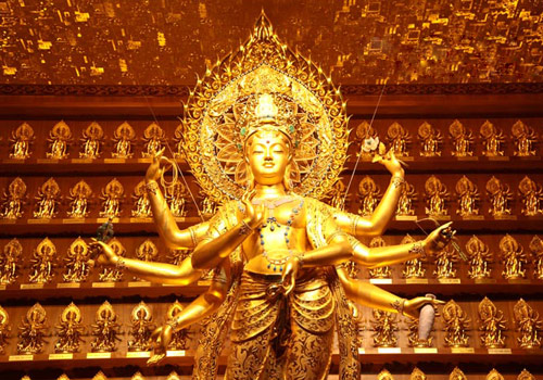 Gold and Jade Satue of Avalokitesvara,Nanshan Temple,Sanya attraction.