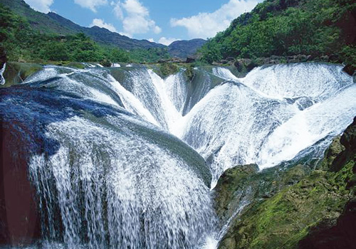 Yinlianzhui Waterfall in the scenic area,Anshun