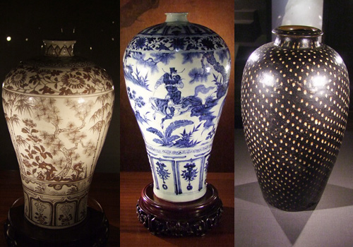 Three exhibited vases in Nanjing Museum.