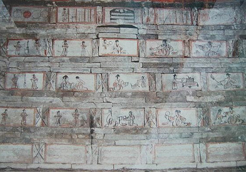 There are more than 760 mural bricks have been unearthed in tombs of Wei and Jin Dynasties.