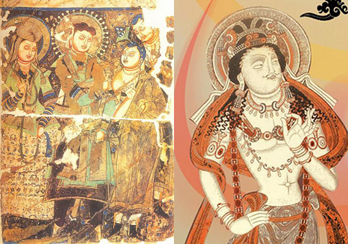 The paintings of Buddha found in the east cave,Kashgar