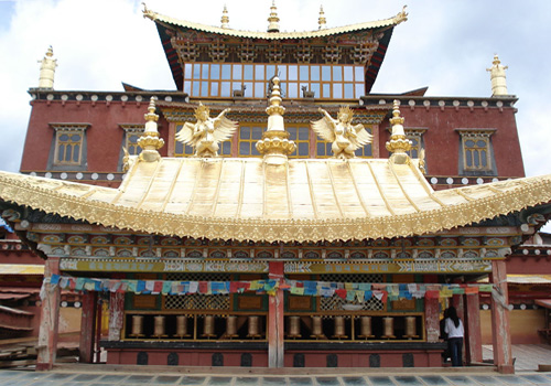 The gilded roof of one hall of Songzanlin Monastery in Shangri-la,Yunnan.