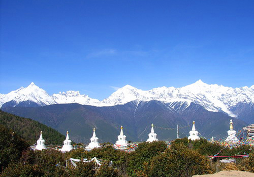 A distant view of Meili Snow Mountain at the viewing deck,Deqin County,Diqing,Yunnan.