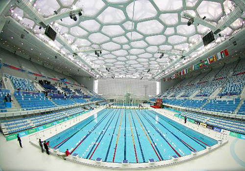 The interior of the National Swimming Center (Water Cube),Beijing