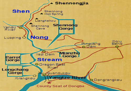 Map of Shennong Stream scenic area