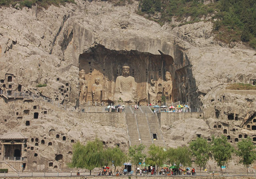 The Longmen Grottoes in Luoyang is one of the Four Great Grottoes of China