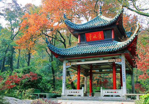 Love Dusk Pavilion in autumn,Yuelu Hill of Changsha