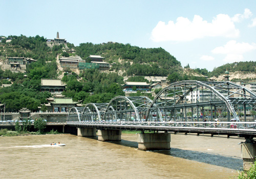 The White Pagoda Hill and the iron bridge over the Yellow River,Lanzhou
