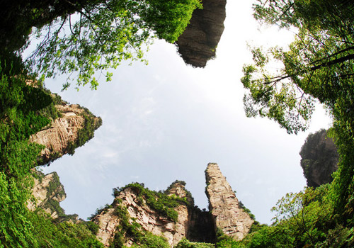 A photo taken in Mountain With Flowers and Fruits Cavern With Waterfall in Front,Zhangjiajie