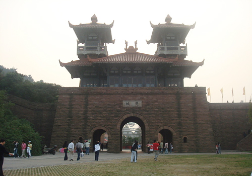 Ancient achitecture style of Chu City Gate,East lake of Wuhan