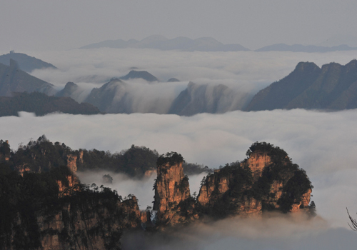Sea of clouds on Tianzi Mountain in Wulinyuan Scenic Area,Zhangjiajie City,Hunan Province
