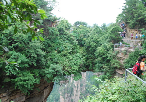 The NO.1 Natural Brige in the World in Yangjiajie Scenic Area spans over two mountains.